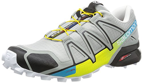 Salomon L38313100, Zapatillas de Trail Running para Hombre, Gris (Light Onix / Black / Corona Yellow), 44 EU