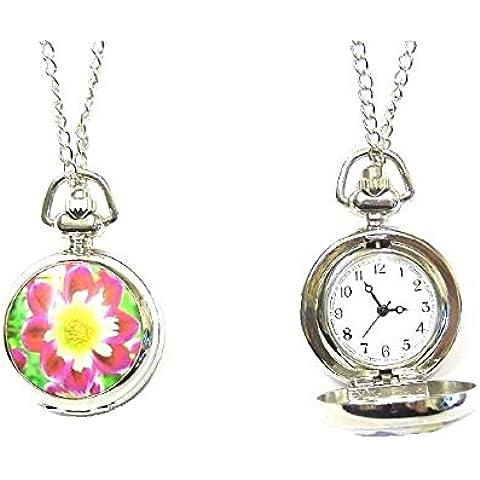 , colore: Rosa con fiore giallo-Orologio da tasca, in confezione regalo (Fancy Dress)-Collana con ciondolo, gioielleria,