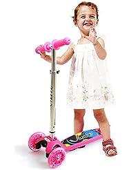 Mini Kick Trottinette, LIYU Trottinette en Réglables T-Bar avec Deluxe Wide Deck 3 PU Clignotantes Roues Spécial Anti-roulement Design pour Enfants en 2-5 ans