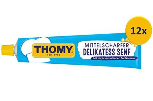 THOMY Delikatess Senf mittelscharf,aus braunen & gelben Senfkörnern, fein vermahlen, praktisch in der Tube (12x200ml)