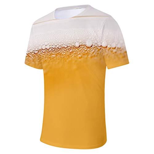 hirt 3D Heißes 2019 Oberseiten Bier Party Jungen Sommer Sweatshirt Sporthemd Streetwear Geeignet für Bar und Party Sun Wie Feuer Strandoberteile ()