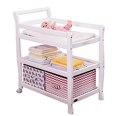 Wooden Baby Diaper Changing Table with Wheels, Perfect for 0-36 Months Baby,Multifunction Universal Bathing Station (Color : White)