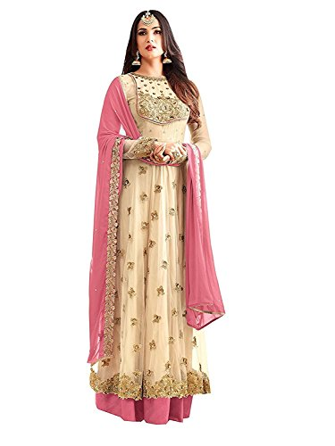 RTHub Women\'s Net Embroidered And Hand Work Semi Stitched Anarkali salwar suit (Beige_Free-Size_Maskeen-Beige)