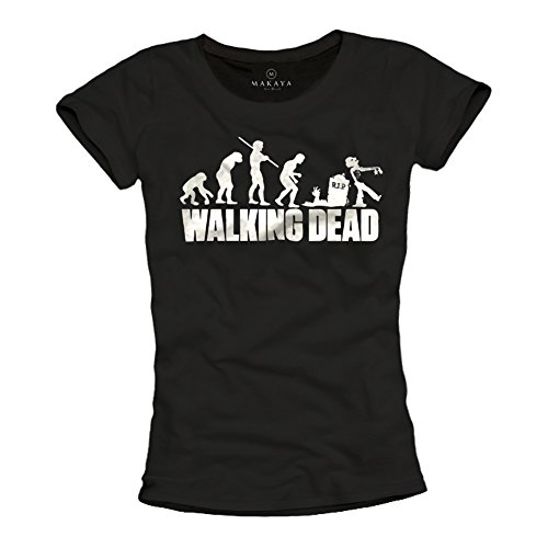 Lustiges Sprüche T-Shirt für Damen mit Aufdruck - Walking Dead - Zombie Evolution schwarz Größe L (Merle Walking Dead Kostüm)
