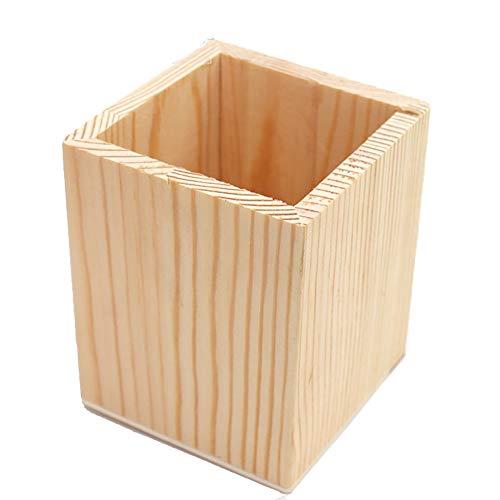 Moolila, portapenne quadrato in legno, portapenne da scrivania, organizer per scrivania da ufficio, 10 cm x 8 cm x 8 cm