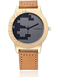 naivo Men's Quartz Stainless Steel and Gold Plated Watch, Color Tan (Model: 1)
