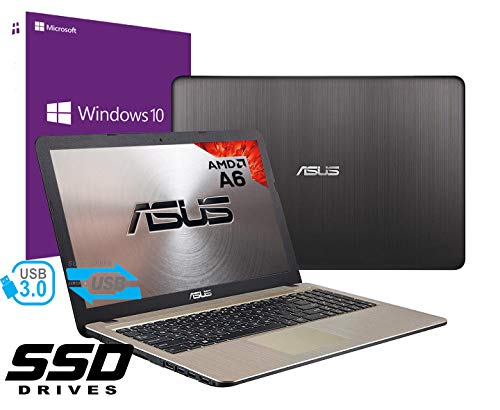 Notebook Asus Vivobook Portatile Pc Display da 15.6' Cpu AMD A6 2.60Ghz /Ram 4Gb DDR4 /Ssd 240GB /Graphics Radeon R4 /Hdmi Masterizzatore Wifi Bluetooth /Windows 10 professional + open office