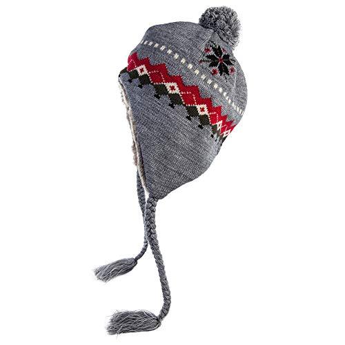 SIGGI warme graue Beanie Mütze Wolle Winter Strickmütze für Damen gestrickte Mütze mit Pompom verschiedene Farben