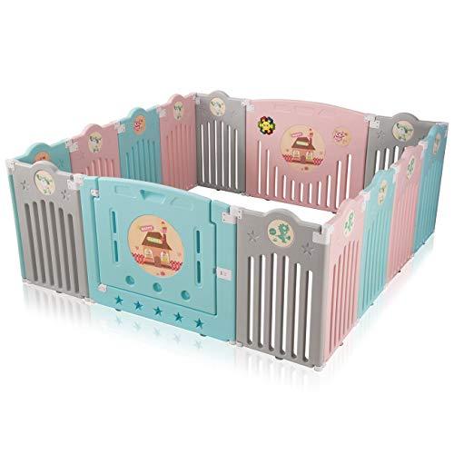 Baby Vivo Parque corralito plegable puerta robusto plastico bebe barrera de seguridad jugar Safari