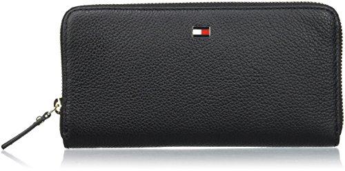 Tommy Hilfiger Damen Basic Leather Large Za Wallet Geldbörse, Schwarz (Black), 1x4x10.7 cm