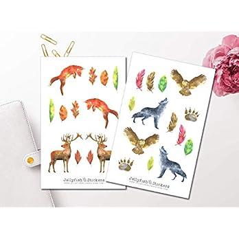 Watercolor Waldtiere Sticker Set | Aufkleber Bunt | Journal Sticker | Sticker Tiere | Sticker Aquarell | Sticker Wald