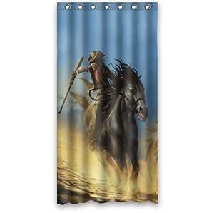 Custom il peinture cowboys bandits chapeaux armes chevaux chase étal anti-moisissure pour salle de bain-Rideau de douche en tissu imperméable 36 x 72 cm