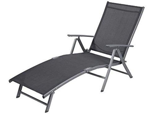 SONNENLIEGE KLAPPBAR ALUMINIUM Liegestuhl Strandliege Gartenliege grau ~ds1 385 (Liegestühle)