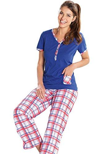 Cybele Damen Pyjama Set 810115 GR. 36 bis 50 Blau/Weiß/Rot