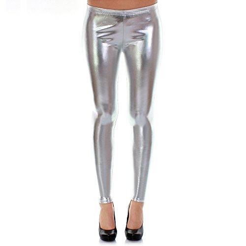 Distressed Metallic Shiny Glanz Leggings Wet Look S~M 34,36,38 (silber)
