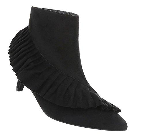 Damen Schuhe Stiefeletten Boots Schwarz 40