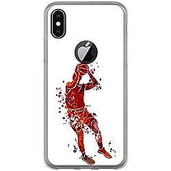 Funda [ Iphone X ], Carcasa de silicona flexible TPU, diseño: Jugador de baloncesto watercolor