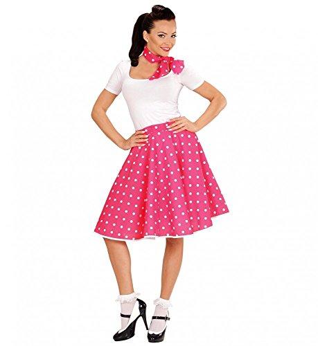 Rock Girl Kostüm Pink - Widmann s.r.l. 50s Rock 'n' Roll Girl - Polka Dot Rock und Halstuch - Einheitsgröße, Farbe:Pink
