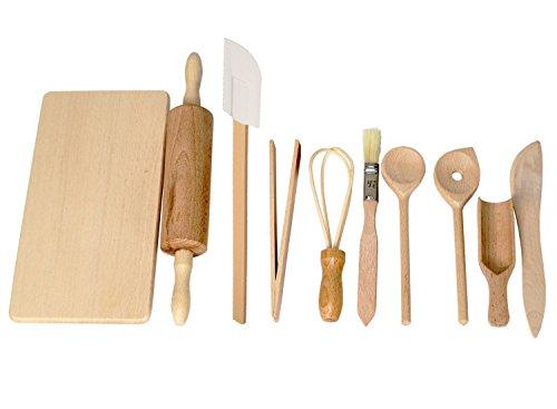 Geschenkissimo Back- und Kochset für Kinder - tolles Spielzeug für die Kinderküche und als Kaufladenzubehör - Holzspielzeug zum Kochen, Backen, Spielen, Entdecken und Spaß haben!