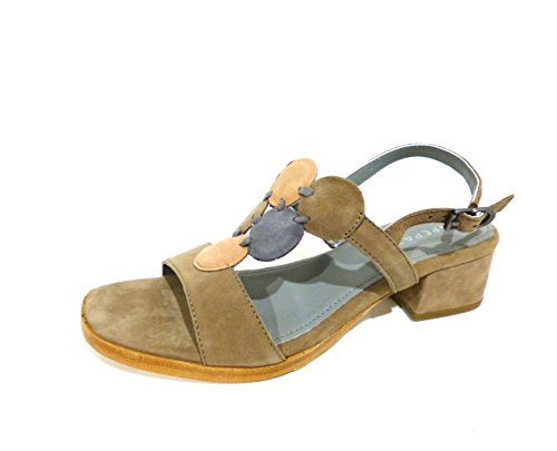 ApePazza ELW04 Erika taupe sandali donna beige tacco medio basso n° 37