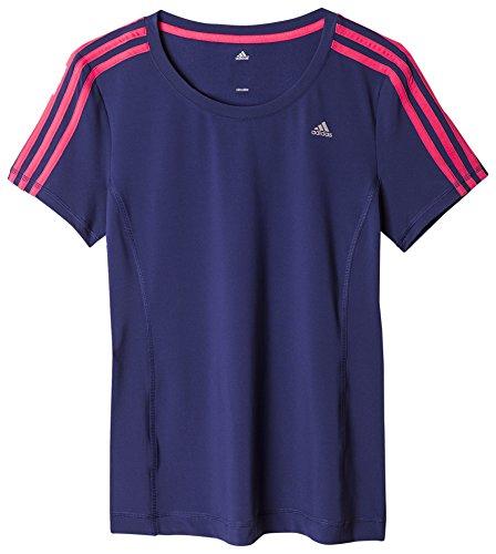adidas Damen Clima 3-Streifen Essentials T-Shirt Dunkelblau/Pink