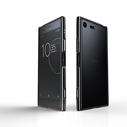 Sony Xperia XZ Premium Hülle Aluminium Rahmen Bumper Handytasche für Sony Xperia XZ Premium, Schwarz