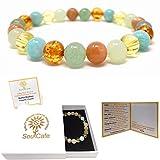 Prosperity & Abundance Bracelet - Premium Healing Gemstone Bracelet - Soul Cafe Gift Box and Information Tag - Amazonite, Citrine, Amber Resin, Orange Moonstone, Green Aventurine, New Jade