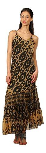 Kushi - Robe Femme Maxi-Longue Eté Multicolore Vacances Neuf Taille 38-50 Rose - Noir