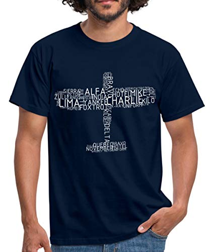 Spreadshirt Flugzeug Pilotenalphabet Piloten Fliegen Funk Männer T-Shirt, M, Navy