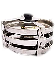 Jainam Stainless Steel Dhokla/Thattai Idli Stand for Pressure Cooker - 3 Plates.