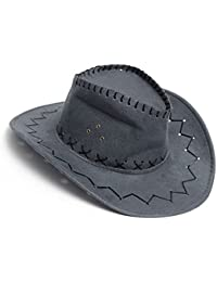 Cowboy Cowgirl hat - SODIAL(R) Retro Unisex Denim Wild West Cowboy Cowgirl Rodeo Fancy Dress Accessory Hats gray