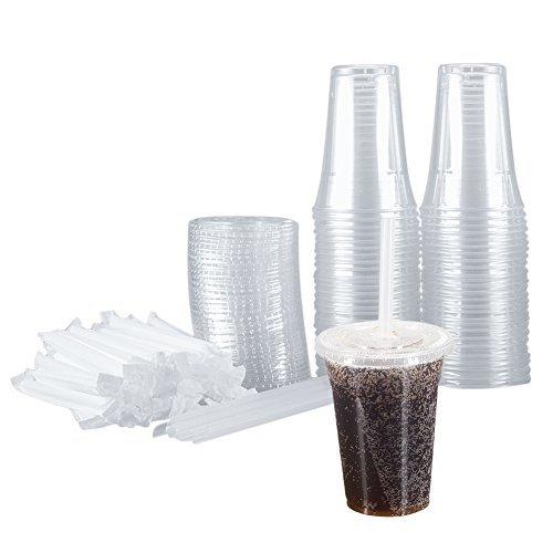 benail 100Sets 20Oz Klar Kunststoff Becher mit Deckel und Strohhalme Einweg Becher perfekt für kalte Getränke, Eiskaffee, Tee, Smoothie etc.. (20 Oz-kunststoff-klar-cups)