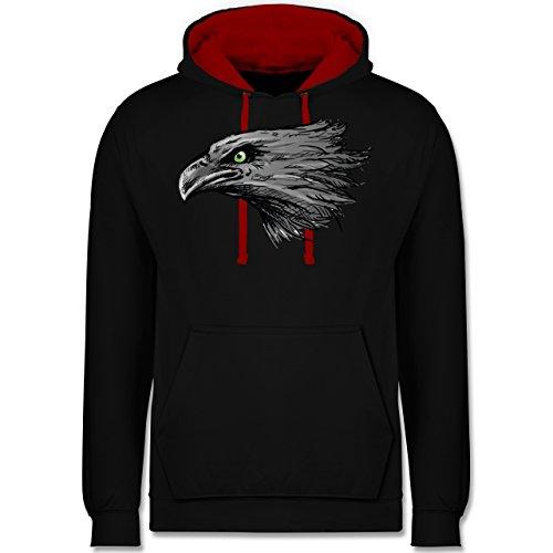 Vögel - Adler - Kontrast Hoodie Schwarz/Rot