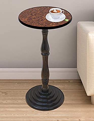 Uniquewise(TM) Round Pedestal Accent Side End Table, Espresso Brown Finish