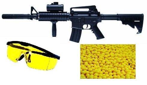 Nerd Clear M83 Power Automatik Softair-Gewehr schwarz ca. 79,6-87,7 cm lang 6 mm ca. 1,9 kg Set inkl. Schutzbrille, Munition, Ladegerät, Gewehrriemen ab 14 Jahren unter 0,5 Joule
