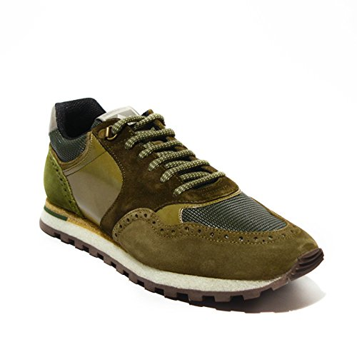Brimarts sneakers uomo pelle verde militare made in italy art.318566 41