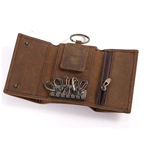 - Brown-leder-schlüsselring (Leder Portemonnaie FEELFAMILY Schlüsselmäppchen aus Büffelleder, Vintage Geldbörse, Schlüsseltasche, Schlüsseletui mit Karten-, Münzen- und Scheinfach)