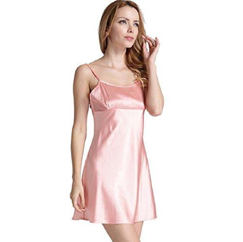 ZC&J Frau Simulation geringstem Schlupf weichen lässig Anzug Bademantel Nachthemd zweiteiliges Kleid,pink,M Pink