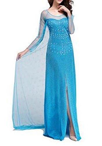 Damen Eiskönigin Prinzessin Kostüm Fasching Prinzessin Kleid Verkleidung Karneval Party Halloween Fest (Disney Erwachsenen Männlichen Kostüme)