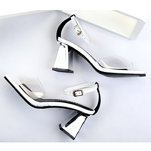 Damen Open Square Toe Transparent Blockabsatz Knöchelriemchen Kuhleder Weiß