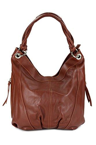 Belli ital. Nappa Leder Shopper Handtasche Damentasche Ledertasche maronen braun - 35x31(mittig) x17 cm (B x H x T)
