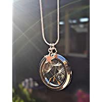 Dandelion Necklace Floating Locket Star Charm STERLING SILVER chain with GIFT BOX - personalized floating charm pendant for women birthday gift