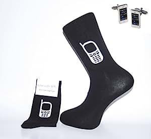 Socken &Manschettenknöpfe Set-Socken schwarz mit weißer Handy Smart Phone Manschettenknöpfe &ein tolles Geschenk für Weihnachten / Geburtstag / Vatertag / Jahrestag Geschenk.