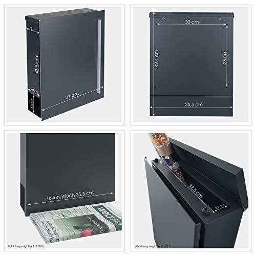 MOCAVI Box 110 Design-Briefkasten mit Zeitungsfach anthrazit-grau (RAL 7016) Wandbriefkasten, Schloss rechts, groß, Aufputzbriefkasten dunkelgrau, Postkasten anthrazitgrau modern mit Zeitungsrolle - 5