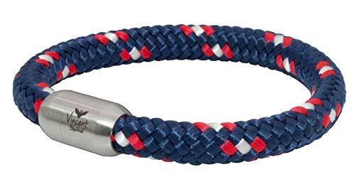 seidon Segeltau Armband blau I weiss I rot - Handgemacht in Geschenkverpackung I dick & auffällig (19) ()