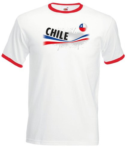 world-of-shirt Herren T-Shirt Chile Vintage Retro Trikot|XL