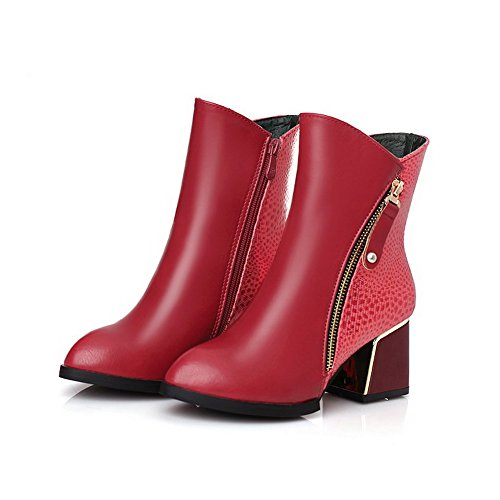 VogueZone009 Donna Luccichio Bassa Altezza Colore Assortito Cerniera Tacco Medio Stivali Rosso