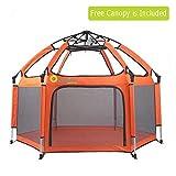 Exqline Box per Bambini con Padiglione Anti-UV,Baby Box per Bambini a 6 Pannelli, Box Bimbo per Interno ed Esterno (Arancione)
