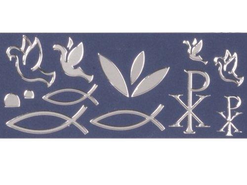 Konturensticker Christliche Symbole Fische silber, Bogen: 10x23 cm, mit 56x Motivstickern -