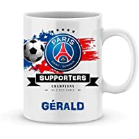 Mug de foot PSG à personnaliser avec votre prénom - Cadeau personnalisé foot ligue1 Paris Saint Germain - Cadeau personalisé fête des pères, anniversaire, Noël